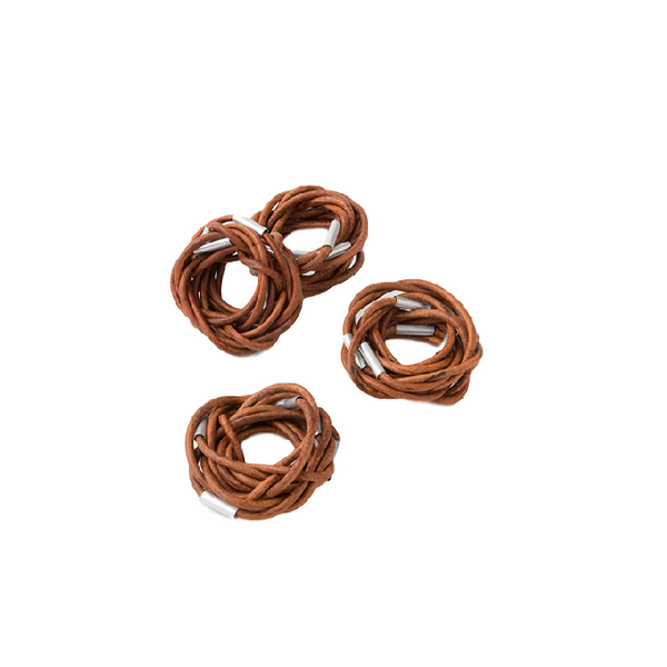 Vance Handmade Leather Woven Napkin Rings (set of two)