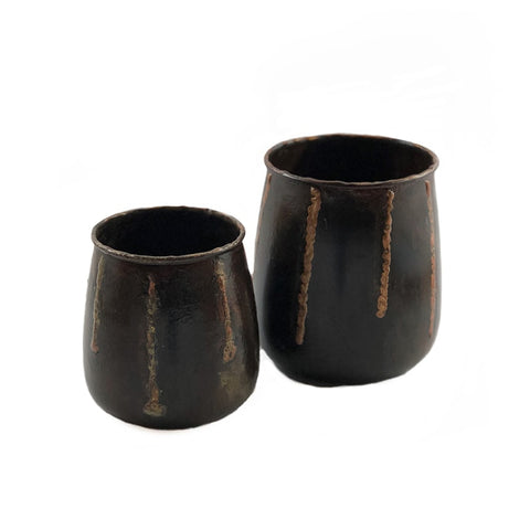Banji Hammered Copper Vase-Planters (Set of 2)
