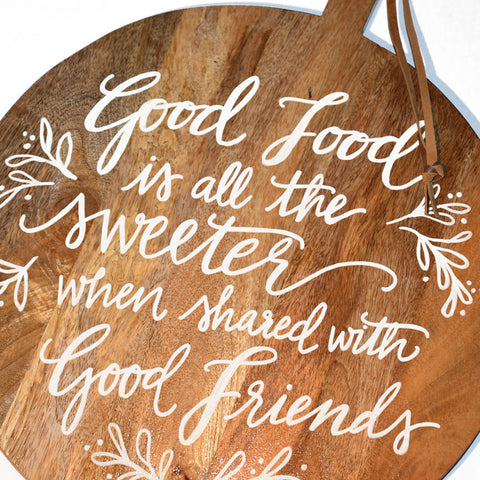 Lori Calligraphy Quote Round Cutting Board with Leather Strap