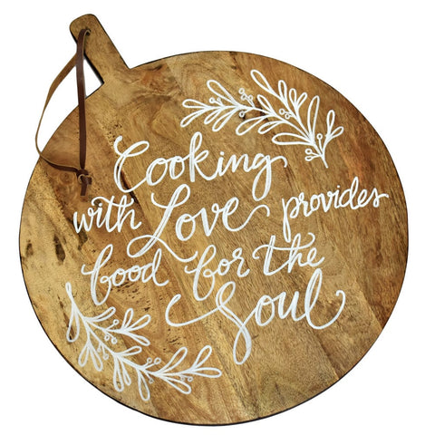 Lisa Calligraphy Quote Round Cutting Board with Leather Strap