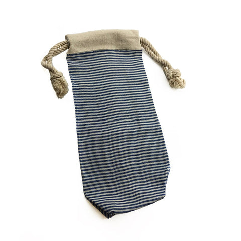 Darcy Blue-Striped Cloth Wine Bag