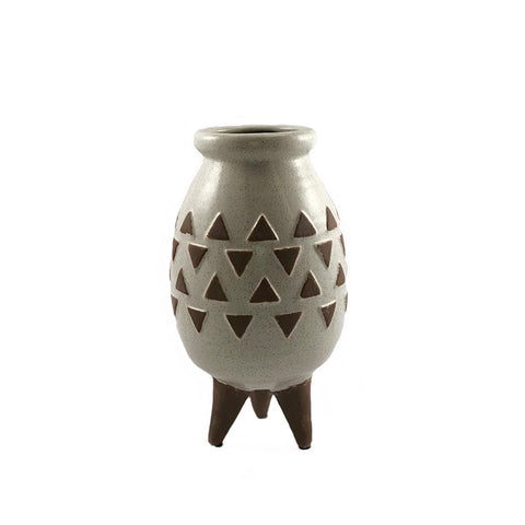 Frannie Big Brown and White Footed Vase