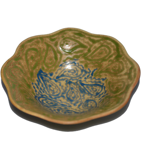 Kai Large Green and Blue Pattern Ceramic Bowl