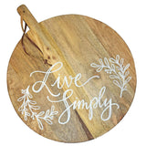 Lela Calligraphy Quote Round Cutting Board with Leather Strap
