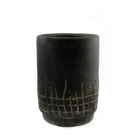 Macon Carved Black Clay Planter