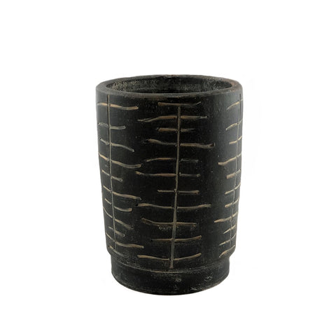 Meris Carved Black Clay Planter