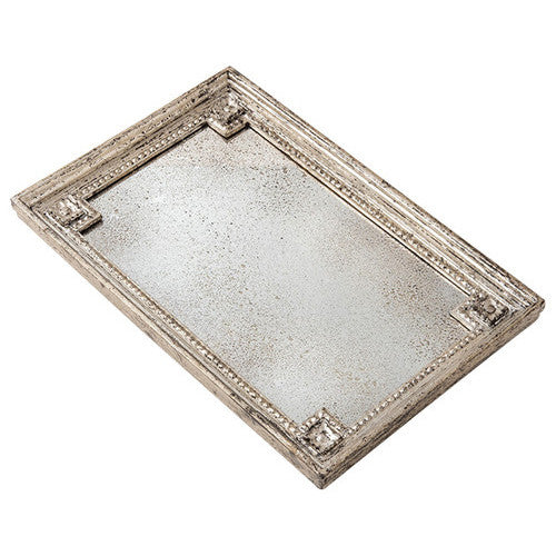 Nelly Rectangular Mirrored Tray with Silver Detail