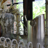 St. Martin Embellished Oval Silver Metal Pitcher