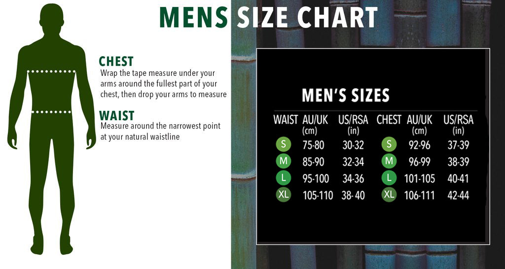 Men's Size Chart - Boody Eco Wear