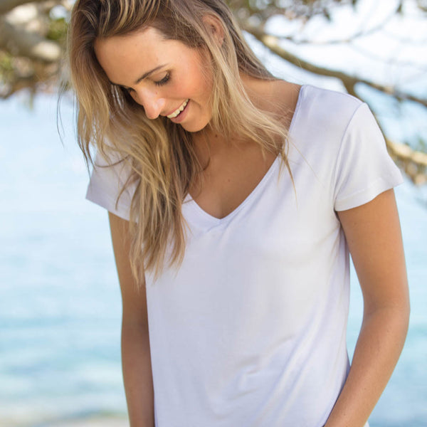 Perfect basic white tee made using organic bamboo - Boody Eco Wear