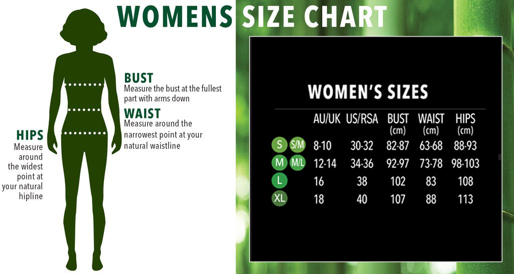 Women's Size Chart - Boody Eco Wear