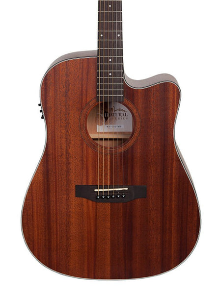 Martinez 'Natural Series' Mahogany Solid Top Acoustic-Electric Dreadnought Cutaway Guitar