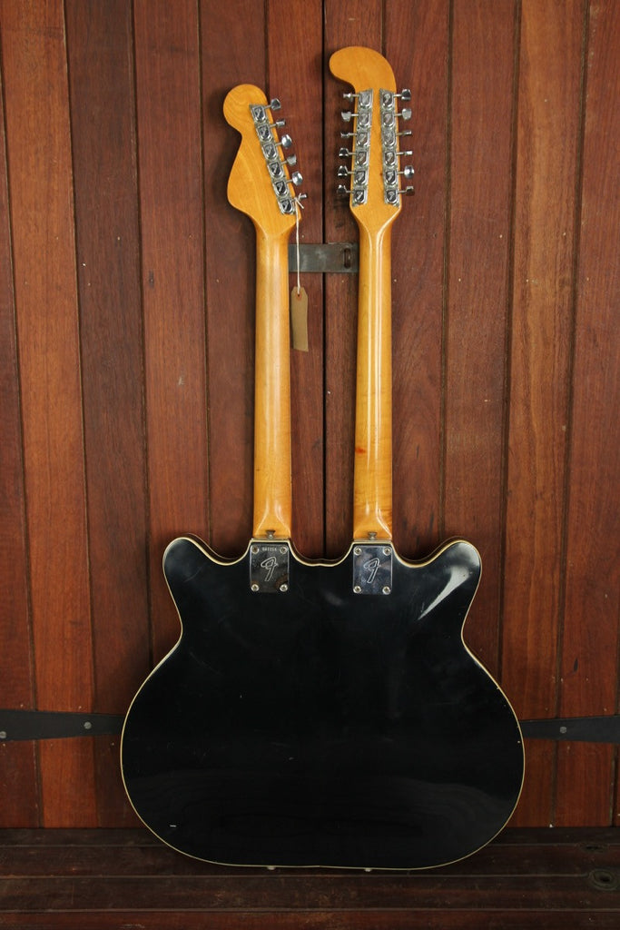 Fender Coronado II Double Neck Black Rare Prototype Semi-Hollow Electric - The Rock Inn