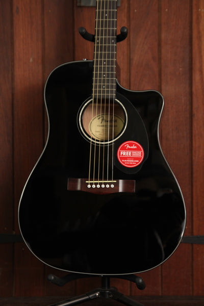 Fender CD-60SCE Solid Top Dreadnought Acoustic-Electric Guitar Black