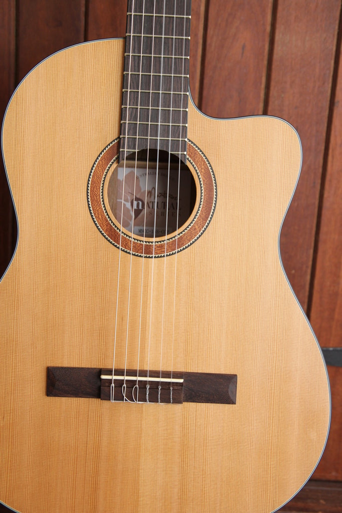 Martinez 'Natural Series' Solid Cedar Top Acoustic-Electric Classical Cutaway Guitar