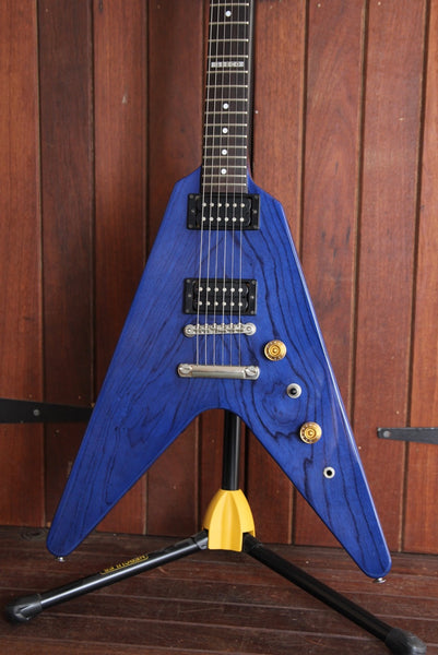 Greco Trans-Blue Flying-V Made in Japan Electric Guitar Pre-Owned