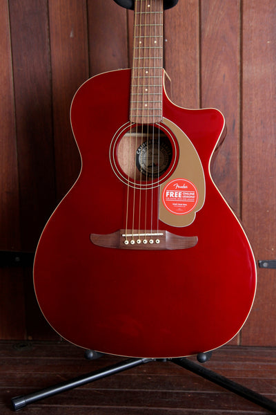 Fender California Player Newporter Acoustic Guitar Candy Apple Red