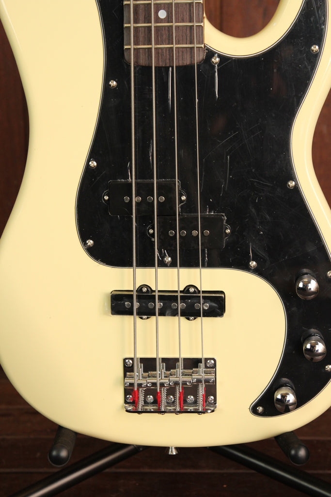 SX PB Bass Solidbody Electric Bass Guitar Vintage White