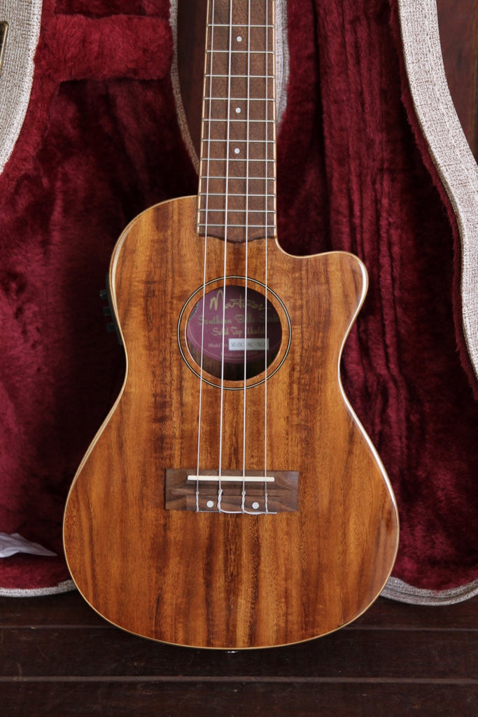 Martiniez Southern Belle Koa Concert Cutaway Electric Ukulele with Case