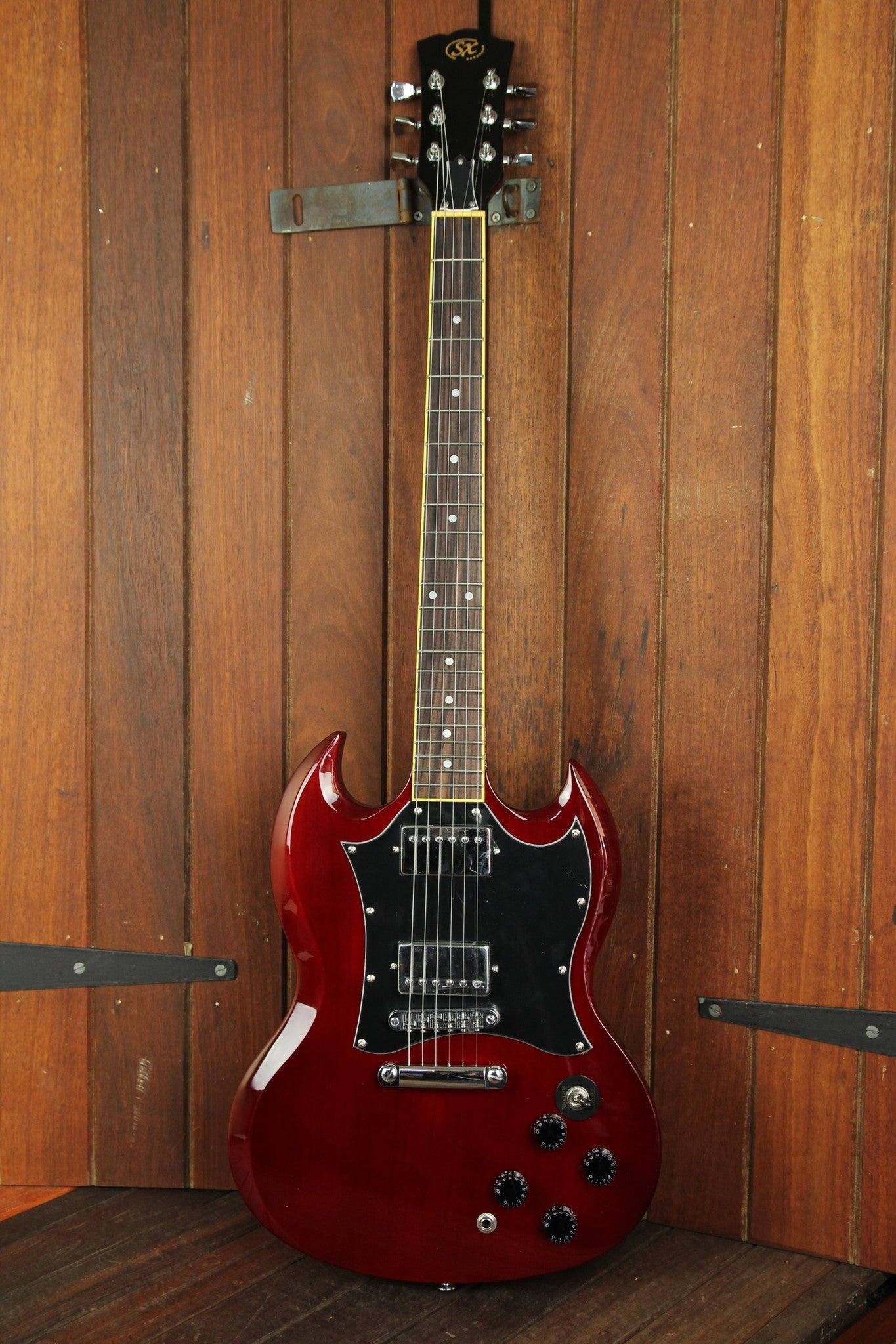 SX Vintage SG Style Electric Guitar Wine Red - The Rock Inn - 2