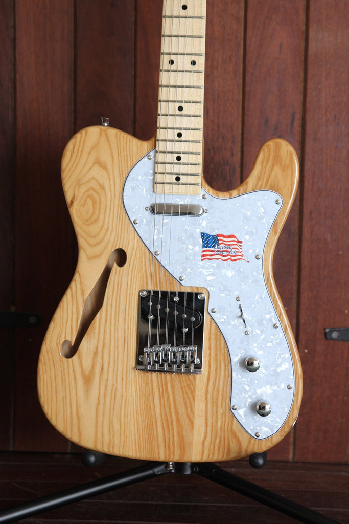 SX Thinline Style Ash Body Electric Guitar Natural