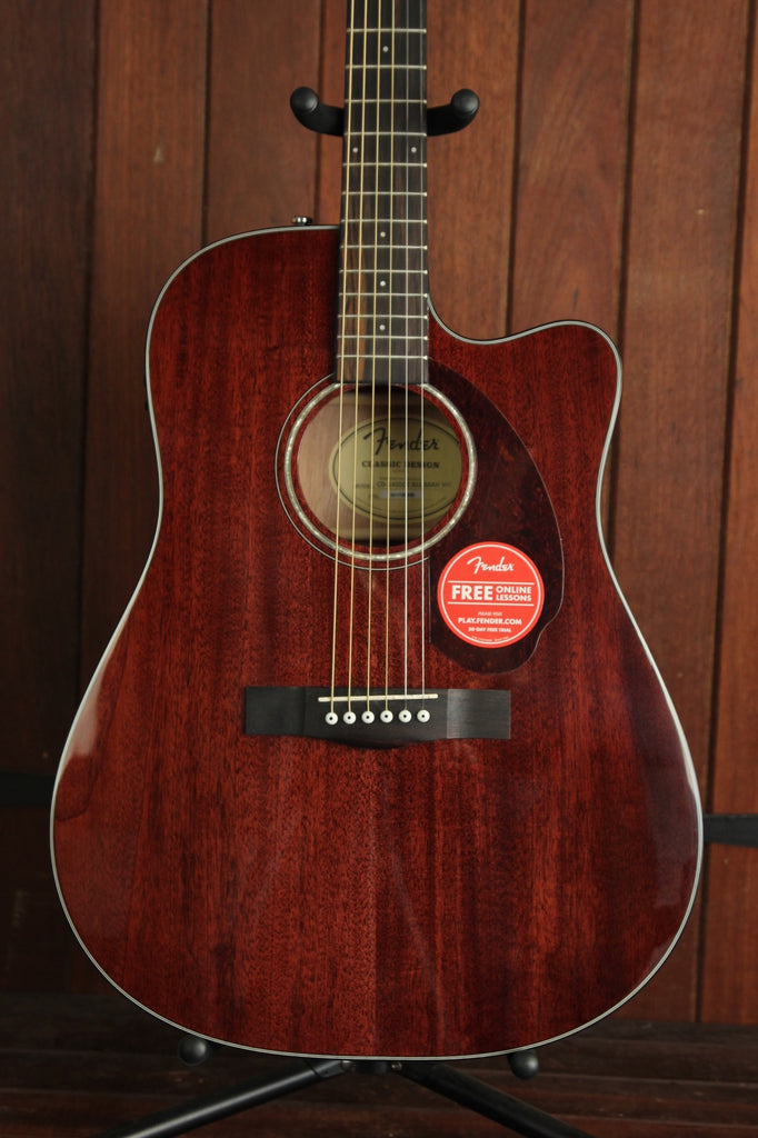 Fender CD-140SCE Mahogany Cutaway Dreadnought Acoustic-Electric Guitar + Case