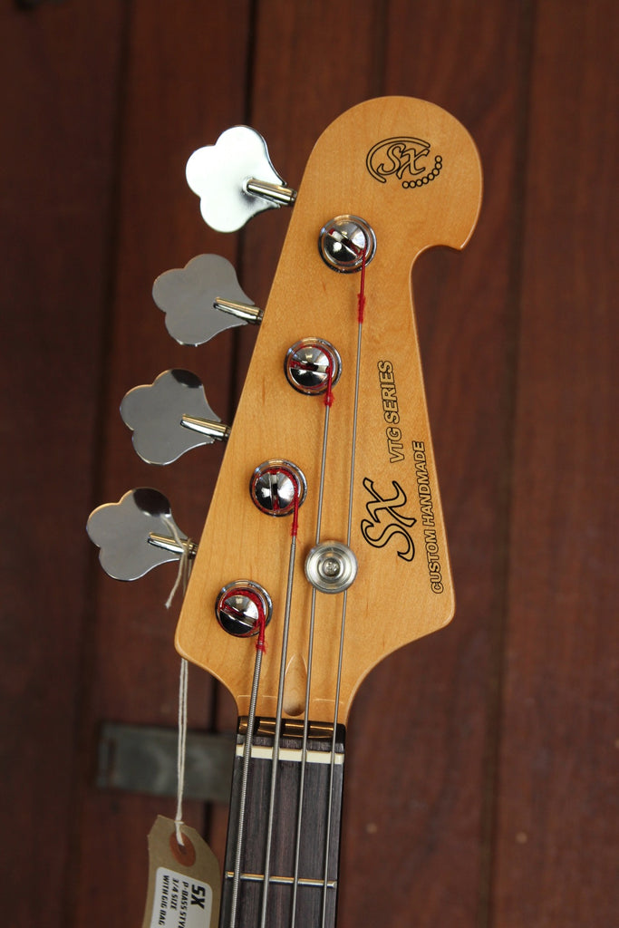 SX PB Bass 3/4 Size Solidbody Electric Bass Guitar Vintage White