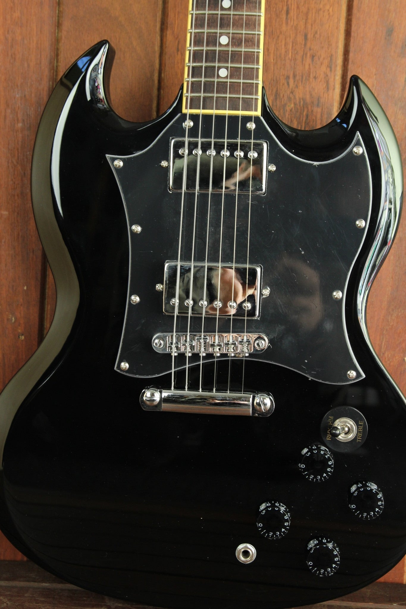 sx vintage sg style electric guitar black the rock inn. Black Bedroom Furniture Sets. Home Design Ideas