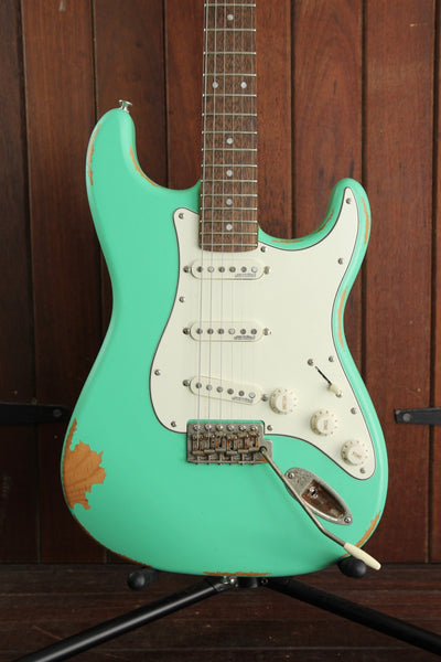 Vintage V6 Icon Electric Guitar Distressed Ventura Green