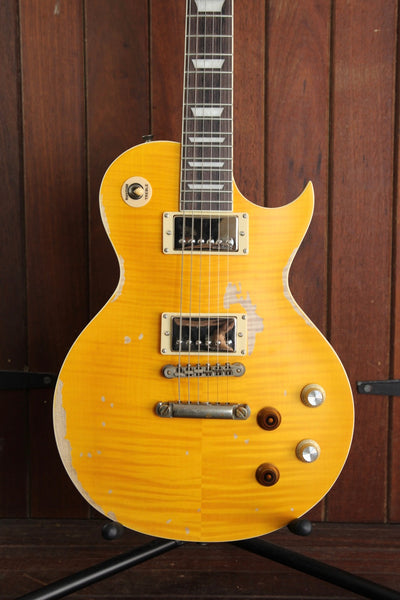 Vintage V100MRPGT Icon Distressed Lemon Drop Solidbody Electric