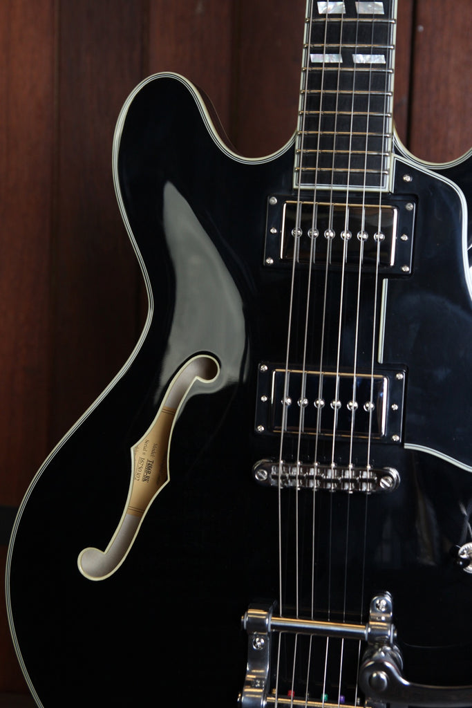 Eastman T486-B Semi-Hollow Bigsby Electric Guitar Black