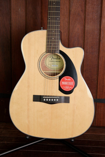 Fender CC-60SCE Solid Top Small Body Acoustic-Electric Guitar Natural