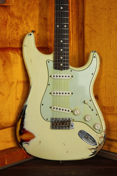 *NEW ARRIVAL* Fender Custom Shop '60 Stratocaster Relic Vintage White / Sunburst - The Rock Inn - 1