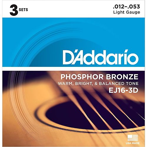 D'Addario 3 Pack EJ Phosphor Bronze Acoustic Guitar Strings EJ16-3D Light 12-53