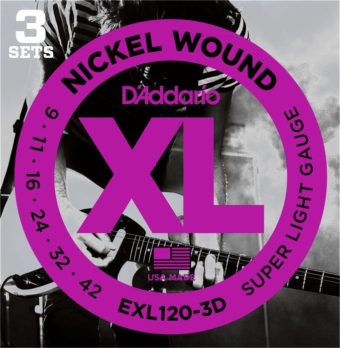 D'Addario 3 Pack EXL Nickel Wound Electric Guitar Strings EXL120-3D Super Light 9-42