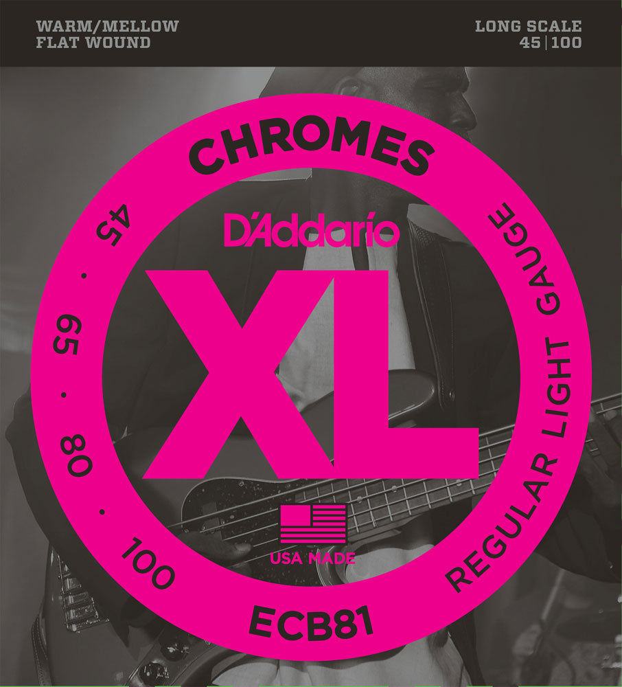 D'Addario ECB81 Long Scale Chromes Flat Wound Electric Bass Strings Regular Light 45-100