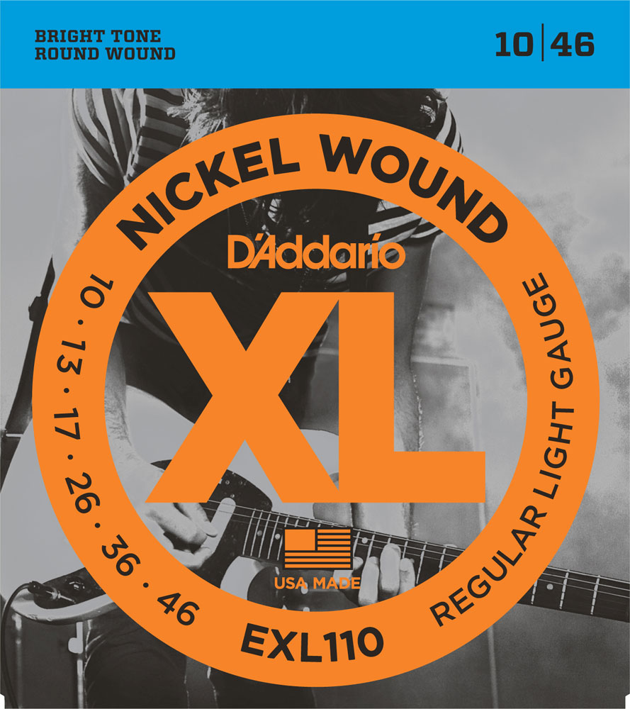 D'Addario 10-46 Nickel Round Wound Electric Guitar Strings EXL110 Regular Light