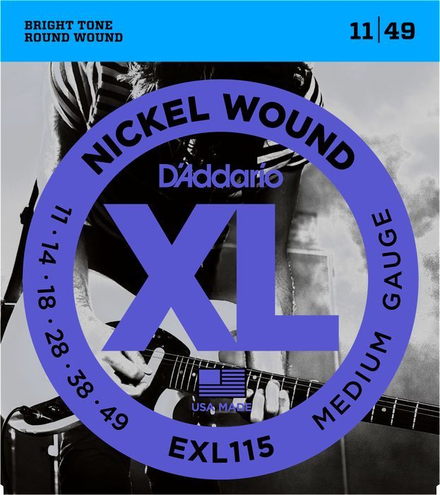 D'Addario 11-49 Nickel Round Wound Electric Guitar Strings EXL115 Blues Jazz Rock