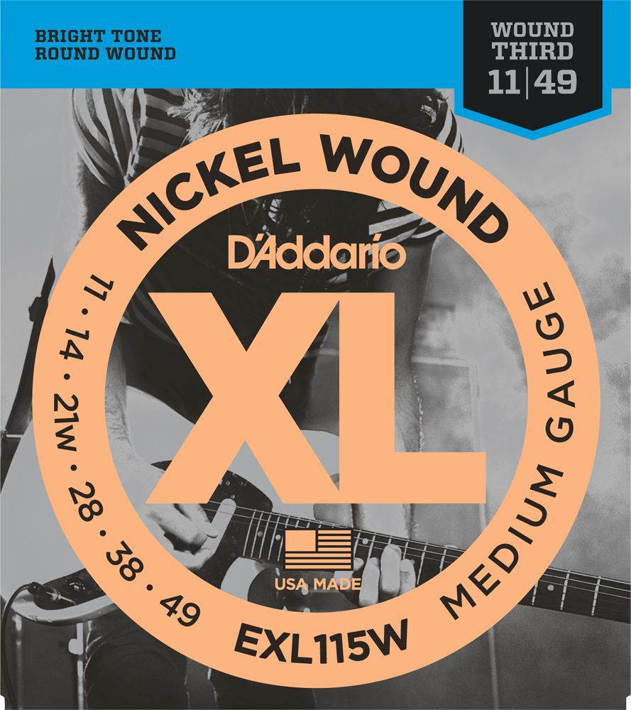 D'Addario 11-49 Nickel Round Wound Electric Guitar Strings EXL115W Jazz Rock Wnd 3rd