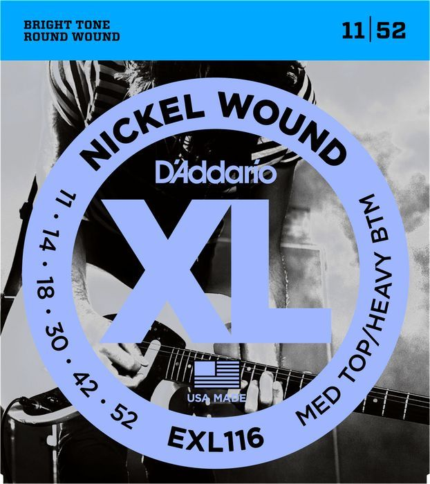 D'Addario 11-52 Nickel Round Wound Electric Guitar Strings EXL116 Med/Hvy