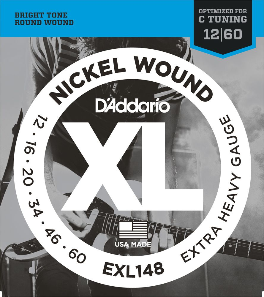 D'Addario 12-60 Nickel Round Wound Electric Guitar Strings EXL148 Extra Heavy