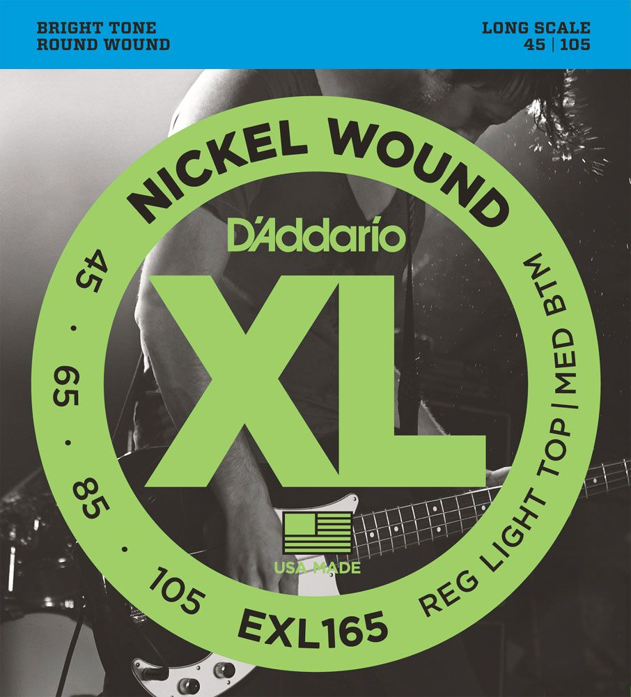 D'Addario XL Nickel Wound Electric Bass Strings EXL165 Long Scale 45-105