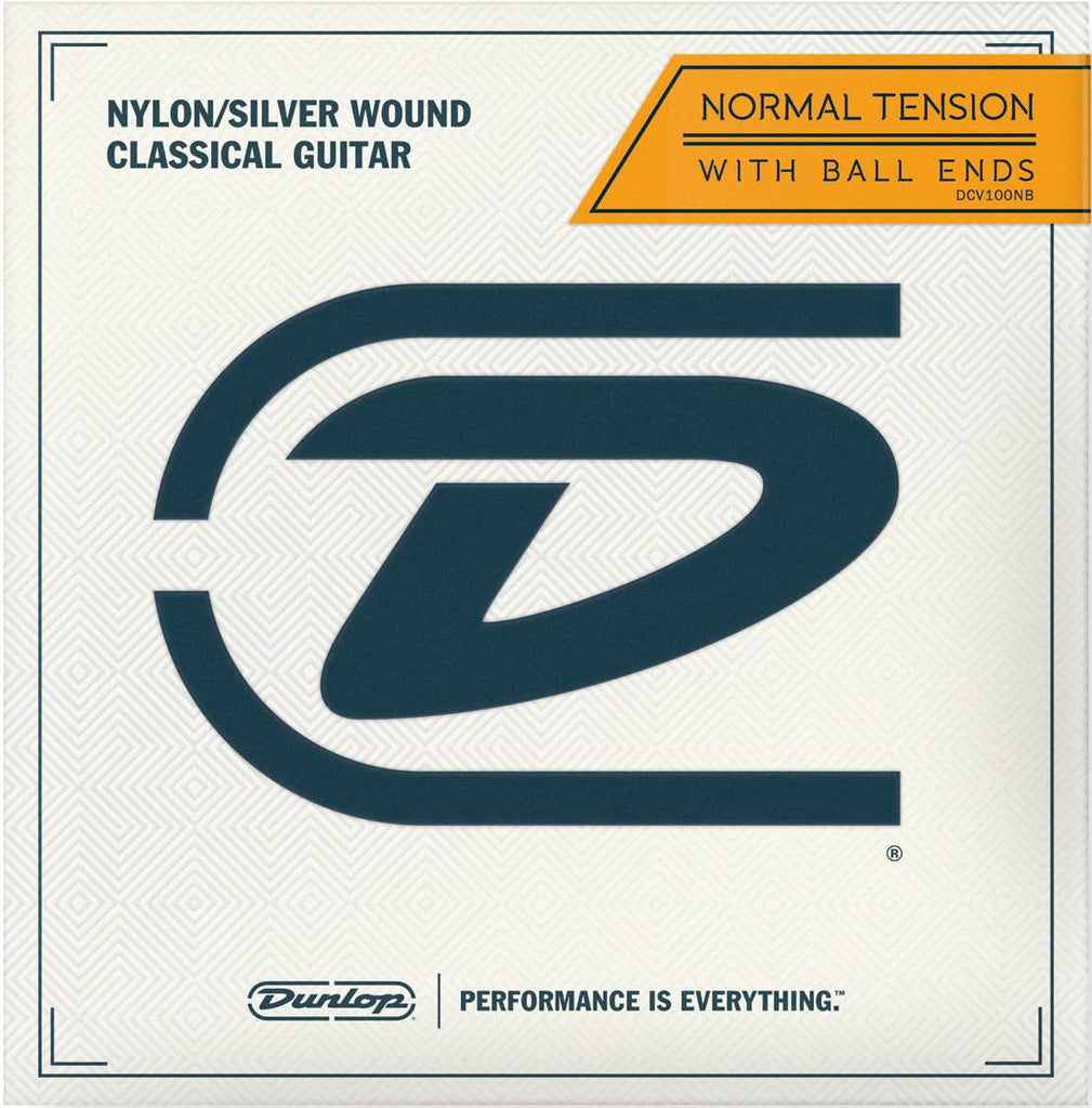 Dunlop Performance Series Clear Nylon/Silver Plated Classical Guitar Strings Normal Tension DCV100NB Ball End