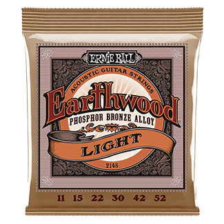 Ernie Ball 11-52 Earthwood Phosphor Bronze Acoustic Guitar Strings Light 2148