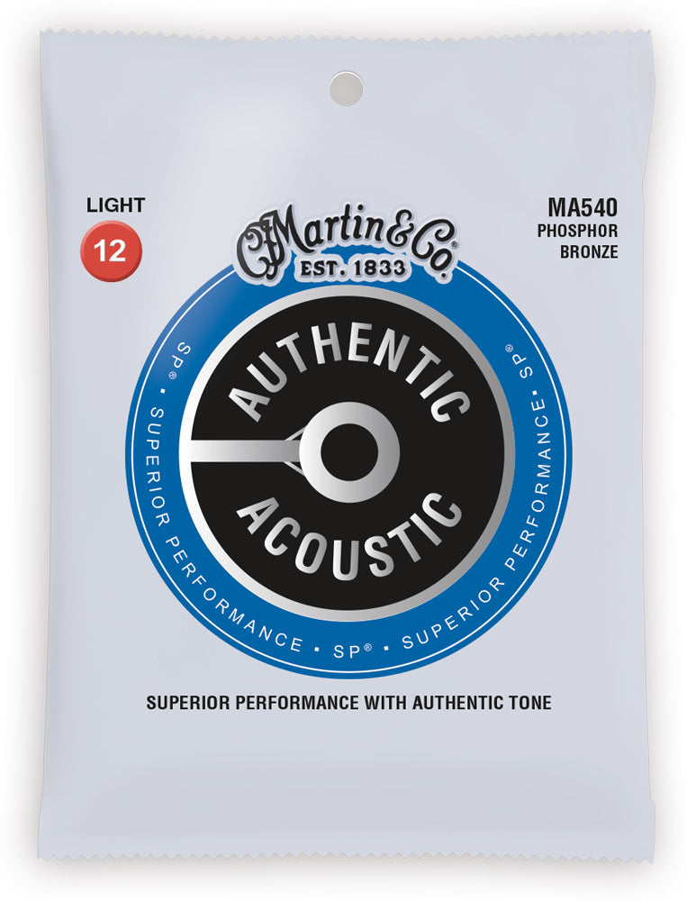 Martin Light 12-54 SP Phosphor Bronze Authentic Acoustic Guitar Strings MA540