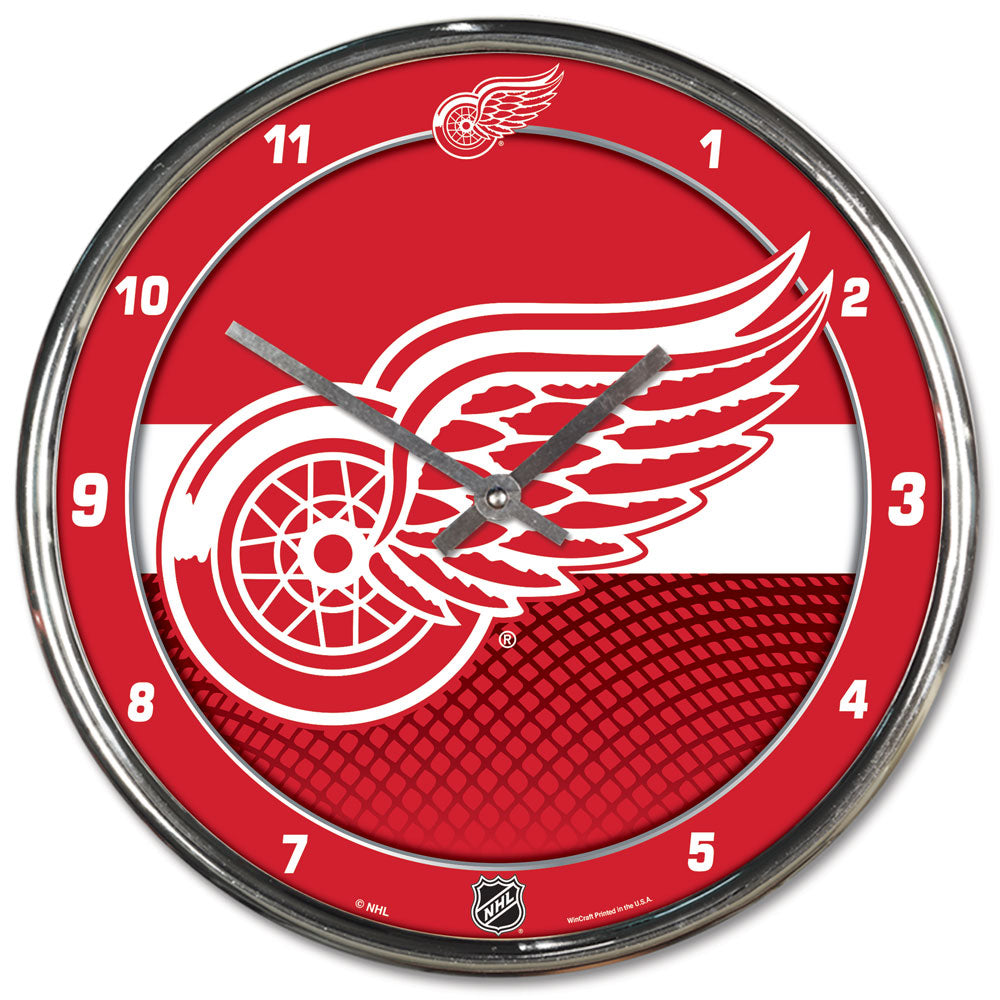 Detroit Red Wings Round Chrome Wall Clock