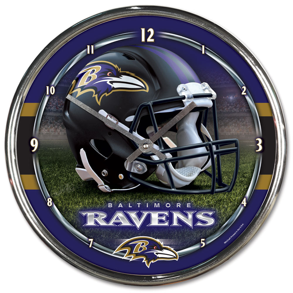 Baltimore Ravens Round Chrome Wall Clock
