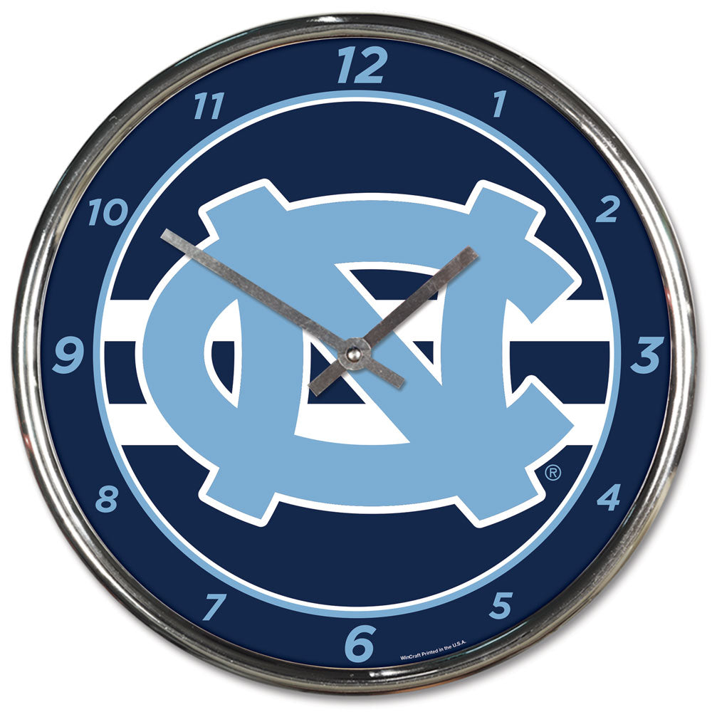 North Carolina Tar Heels Round Chrome Wall Clock
