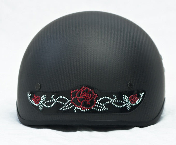 Rhinestone Helmet Patch - Red Rose