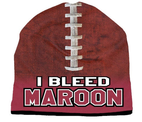 Beanie I Bleed Style Sublimated Football Maroon Design